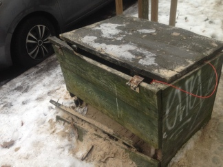 Box of sand for de-icing the road