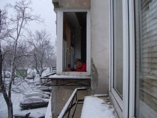 Me at my Puławska St window relishing snow
